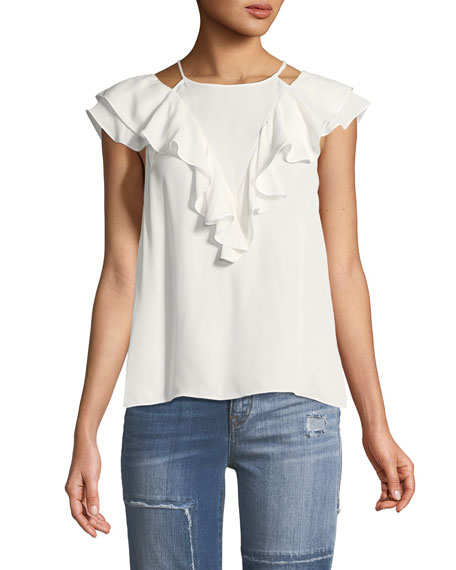 Terry High-Neck Sleeveless Silk Top