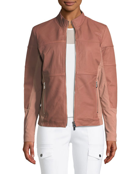 ANATOMIE Erin Perforated Leather Jacket in Dusty Rose