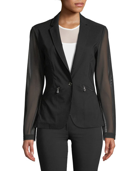 Kleo Blazer with Sheer Sleeves & Back