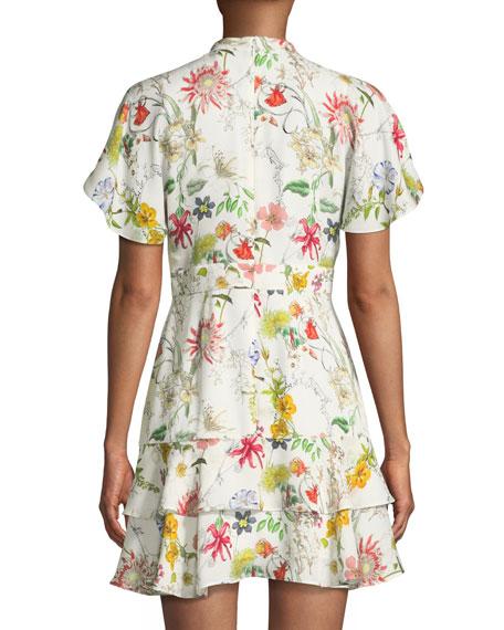 Natalie Floral-Print Silk Short Dress