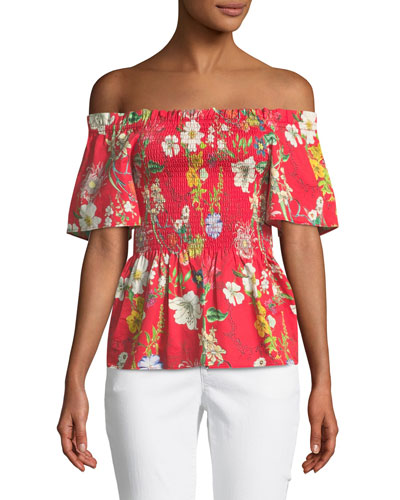 Penn Off-the-Shoulder Floral-Print Blouse