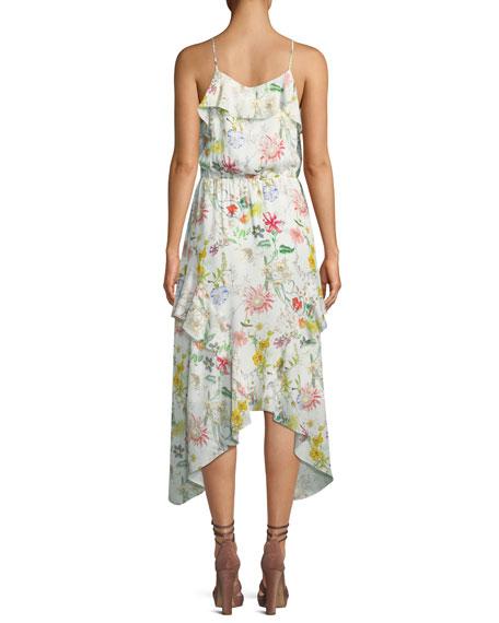 Vanna V-Neck Floral-Print Silk Chiffon Dress
