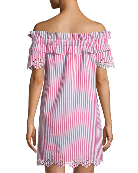 Cable Off-the-Shoulder Striped Cotton Dress w/ Embroidery