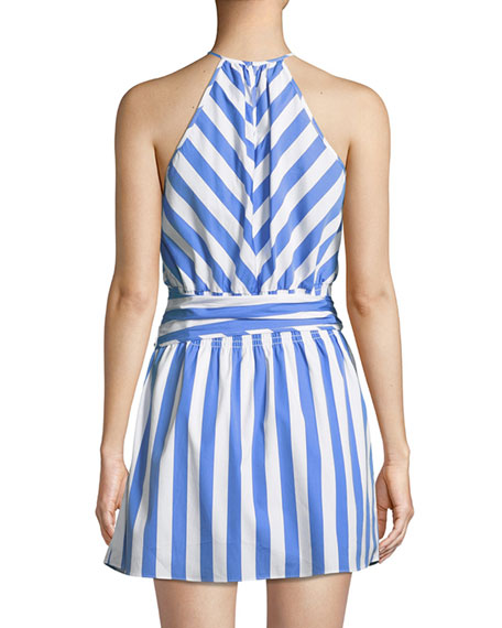 Larissa Sleeveless Striped Cotton Halter Dress