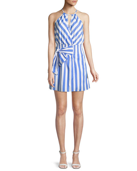 Parker Larissa Sleeveless Striped Cotton Halter Dress