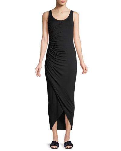 Dishdasha Scoop-Neck Side-Ruched Jersey Dress