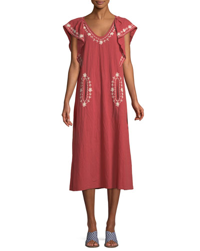 The Great The Vineyard Embroidered Cotton Maxi Dress