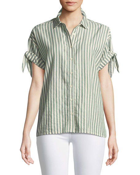 Tie-Sleeve Button-Down Striped Cotton Shirt