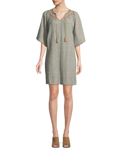 The Butterfly Striped Cotton-Linen Smock Dress