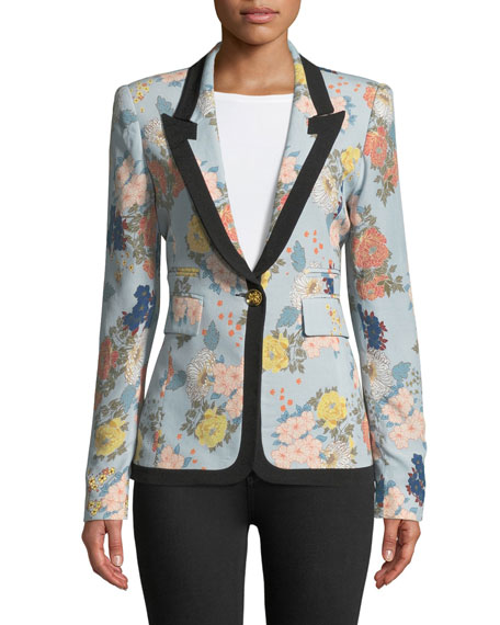 Border Peaked Lapel Single-Breasted Floral-Print Blazer