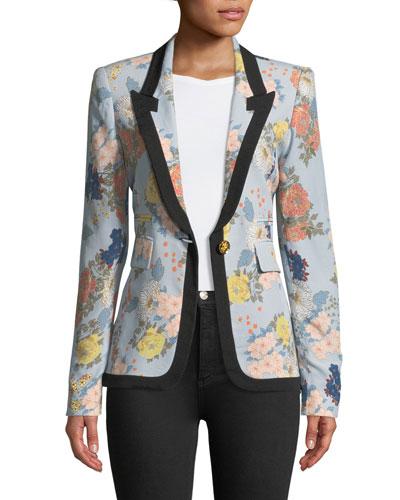 Border Peaked Lapel Single-Breasted Floral-Print Blazer