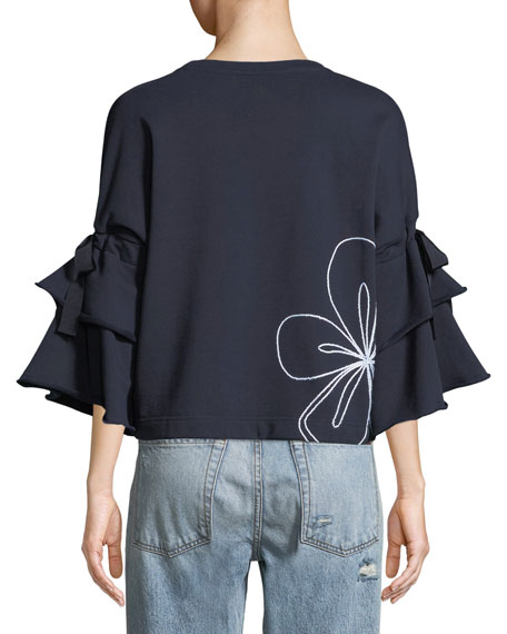 Oamara Crewneck Floral-Topstitch Cotton Sweatshirt