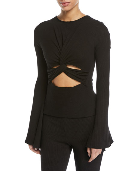 Margaux Twist-Front Bell-Sleeve Top