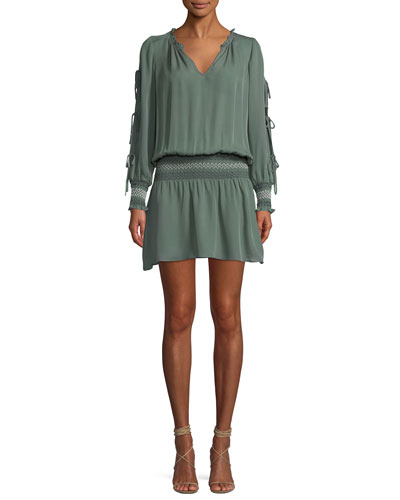 Cynthia Tie-Sleeve Silk Mini Dress