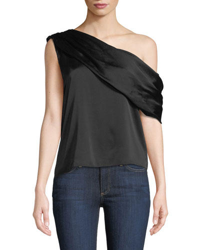 Serita One-Shoulder Sateen Drape Tank