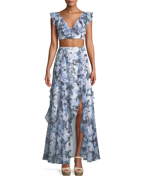 Fame and Partners The Eliza Ruffled Two-Piece Gown