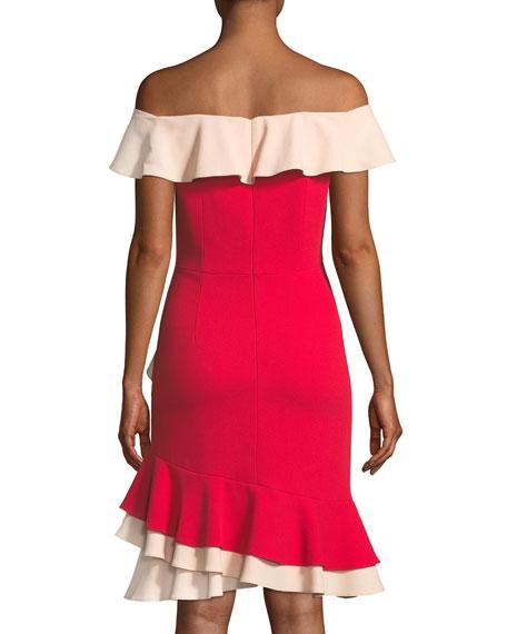 Off-the-Shoulder Flounce-Trim Crepe Cocktail Dress