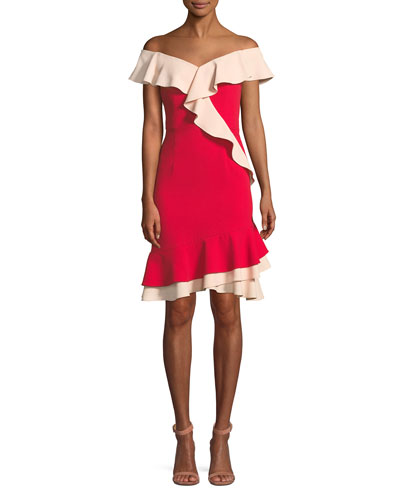 Off-the-Shoulder Flounce-Trim Crepe Cocktail Dress