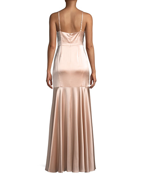 Satin V-Neck Sleeveless Corset Gown