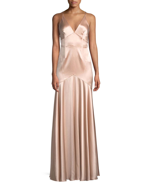 Jill Jill Stuart Satin V-Neck Sleeveless Corset Gown