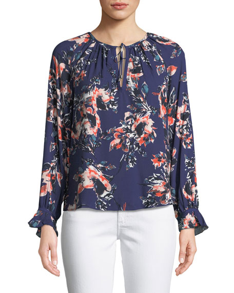 Long-Sleeve Floral-Print Peasant Top