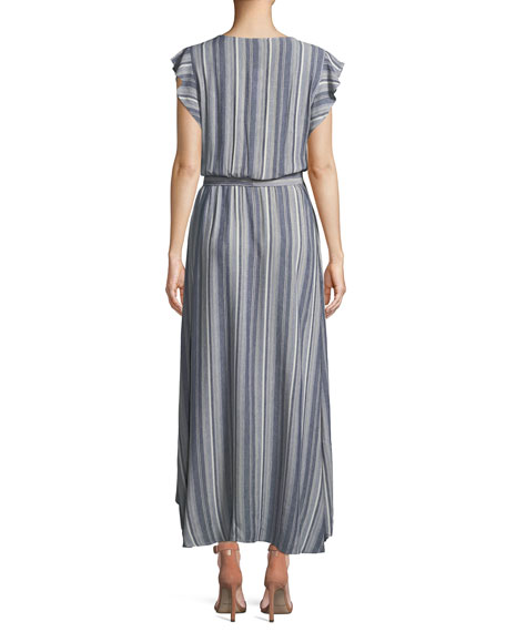 Striped Tulip-Sleeve Chambray Maxi Dress