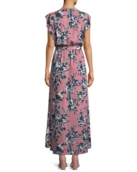 Floral-Print Tulip-Sleeve Maxi Dress
