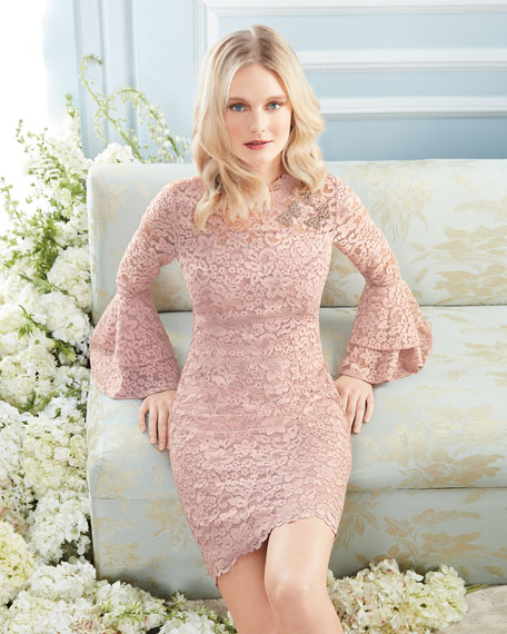 Lace Bell-Sleeve Sheath Cocktail Dress