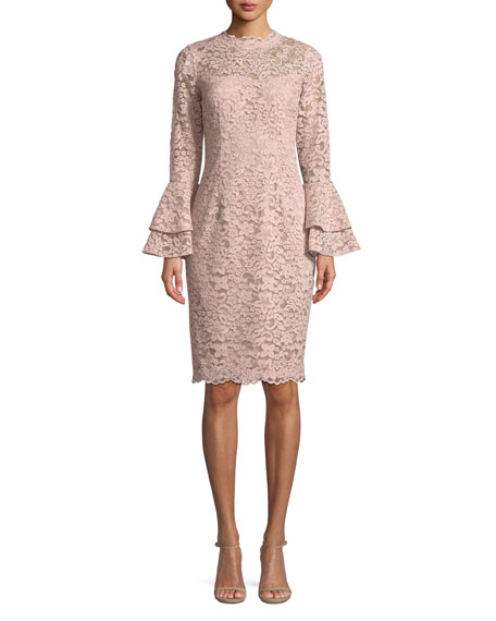 Rickie Freeman for Teri Jon Lace Bell-Sleeve Sheath