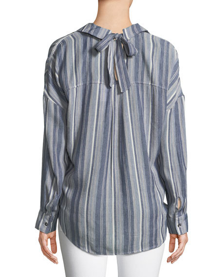 Striped Chambray Button-Front Top