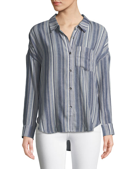Splendid Striped Chambray Button-Front Top