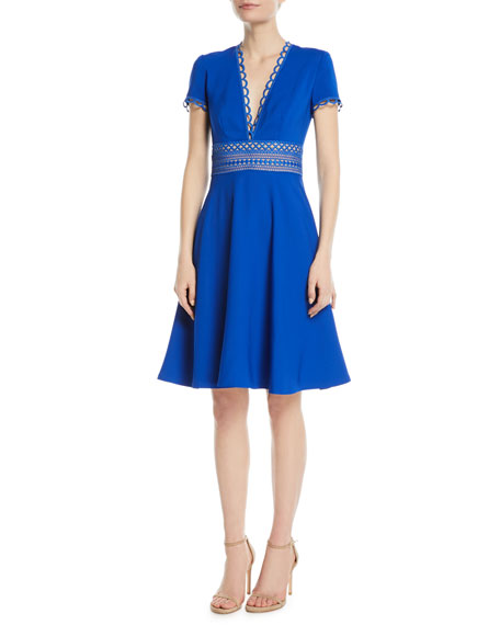 NAEEM KHAN Crepe Short-Sleeve Cocktail Dress W/ Lace Band in Cobalt