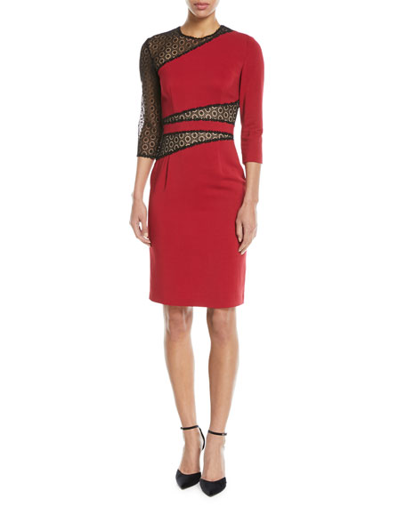NAEEM KHAN Mesh-Inset Knee-Length Sheath Dress in Red/Black