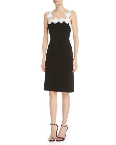 Daisy-Trim Square-Neck Sheath Dress