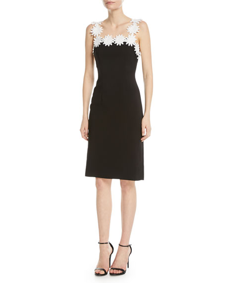 NAEEM KHAN Daisy-Trim Square-Neck Sheath Dress in Black