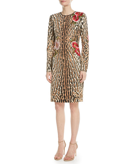 NAEEM KHAN Leopard Sheath Dress W/ Floral AppliquÉ