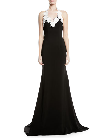 NAEEM KHAN Daisy-Trim Crepe Halter Gown in Black