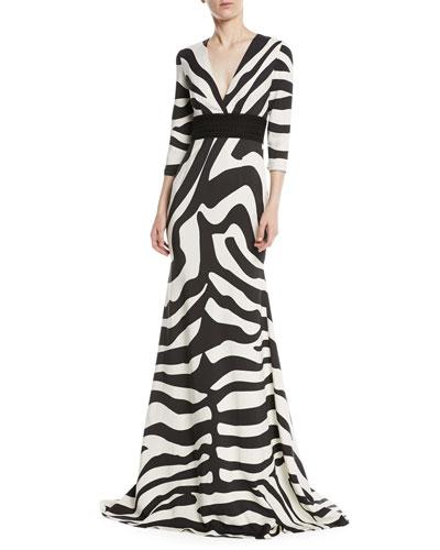 V-Neck Zebra-Stripe Trumpet Gown w/ Lace Band