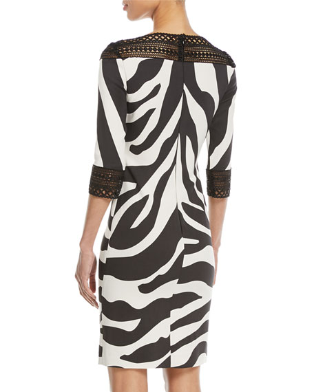 Zebra-Stripe Sheath Cocktail Dress w/ Lace Trim