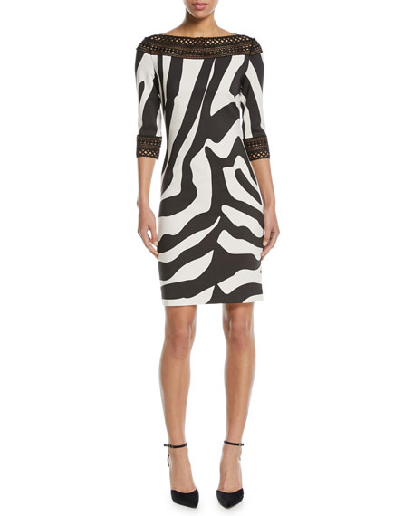 NK32 Naeem Khan Zebra-Stripe Sheath Cocktail Dress w/