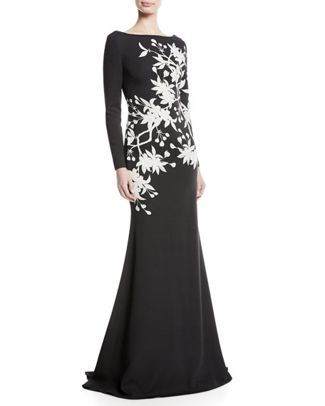 NK32 Naeem Khan Floral Long-Sleeve Trumpet Gown