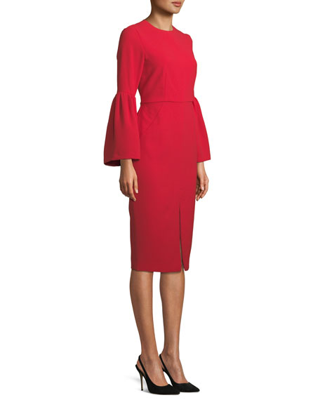 Bell-Sleeve Slit-Front Sheath Cocktail Dress