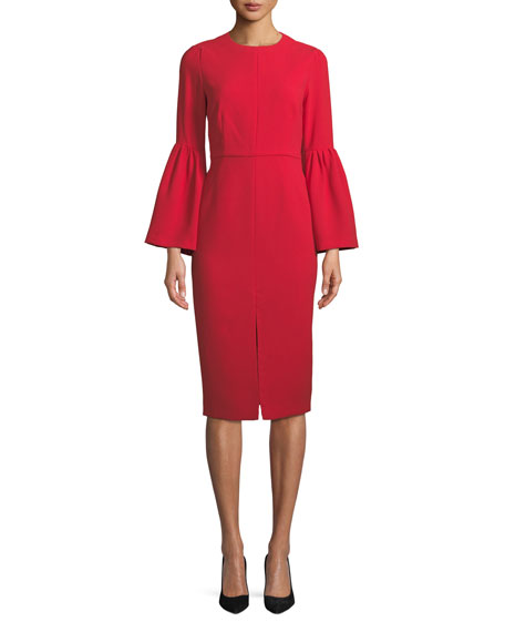Jill Jill Stuart Bell-Sleeve Slit-Front Sheath Cocktail Dress