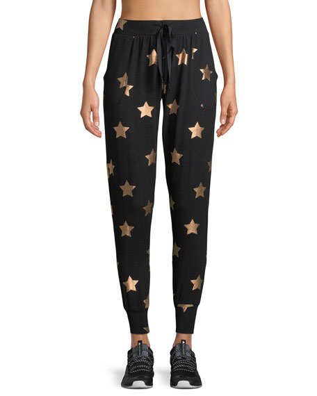 Terez Star-Print French Terry Jogger Pants