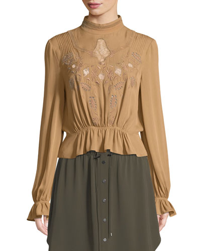 Della Rose Button-Back Embroidered Silk Blouse