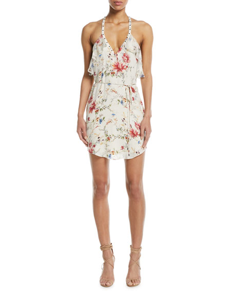 Haute Hippie Narrow Escape V-Neck Sleeveless Floral-Print Silk