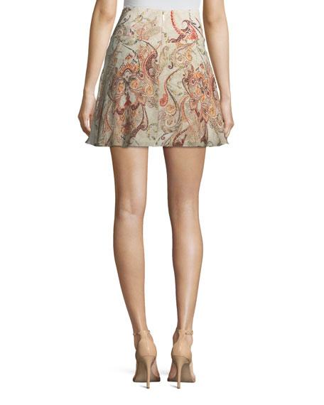 Faye Damask-Print Silk Mini Skirt