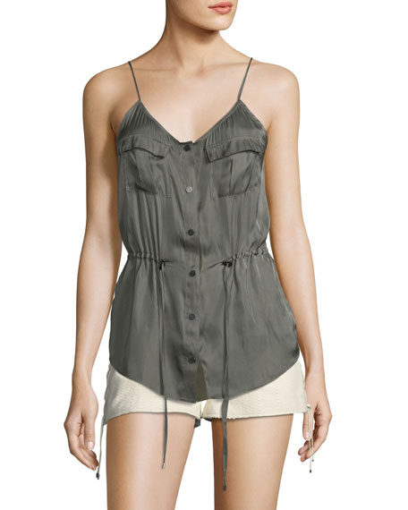 Haute Hippie Getaway Snap-Front Satin Camisole and Matching