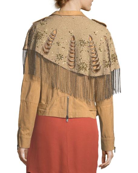 Oakridge Moto Jacket with Embellished Fringe Detail