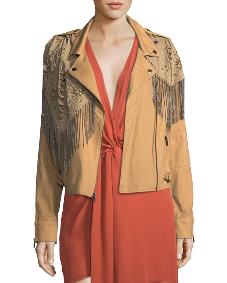 Haute Hippie Oakridge Moto Jacket with Embellished Fringe